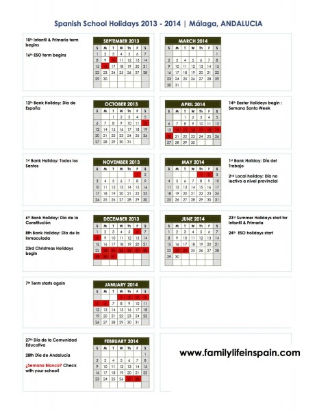 school holiday calendar spain 2013 2014