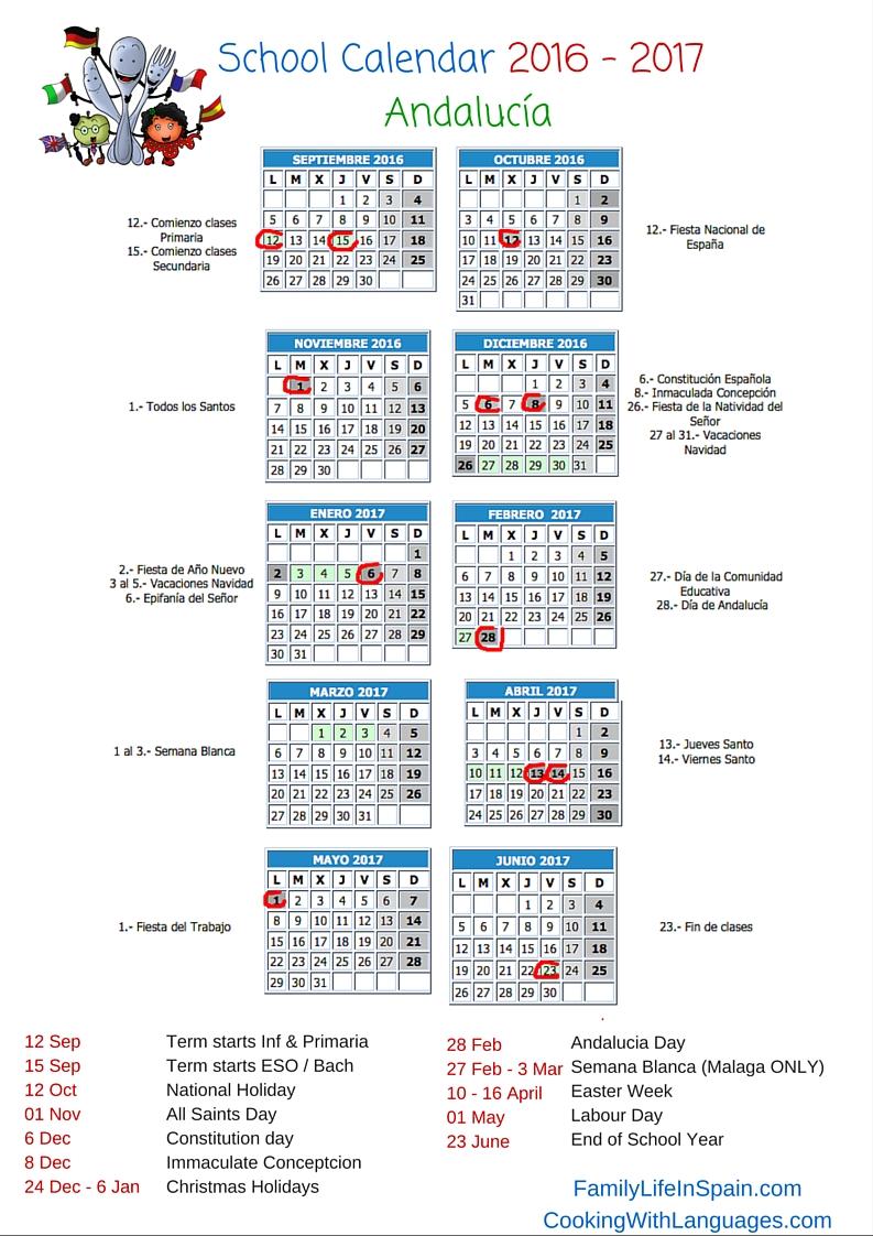 School Calendar 2016 - 2017