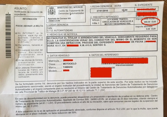 traffic fines in spain