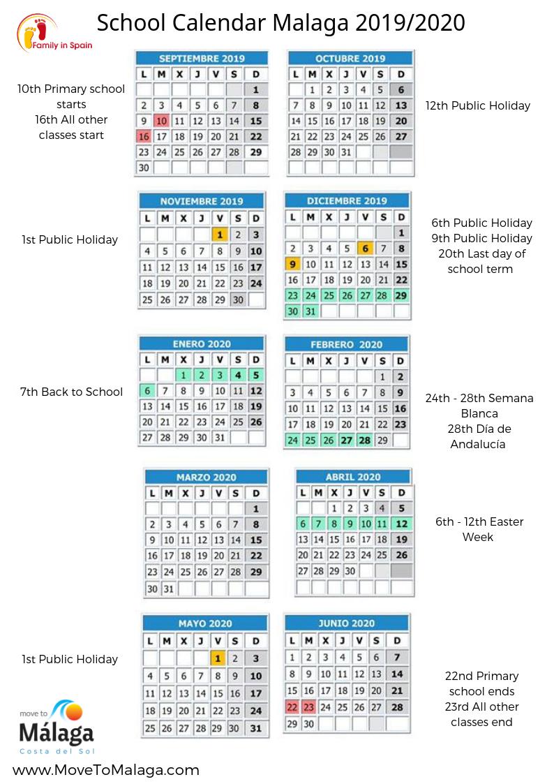 2019 2020 school calendar spain